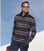 Men's Grey Striped Brushed Fleece Jumper preview1