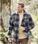 Men's Checked Fleece Overshirt - Beige Navy Blue - Highlands Forest