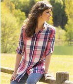 Women's Longline Checked Shirt - Blue White Pink