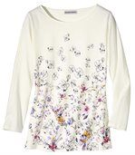 Women's Off-White Floral Print Top