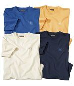Men's Pack of 4 T-Shirts - Ecru Blue Yellow Navy preview1