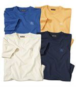 Pack of 4 Men's T-Shirts - Ecru Blue Yellow Navy