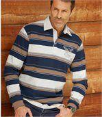 Men's Long Sleeve Striped Polo Shirt - Navy Brown Ecru preview1