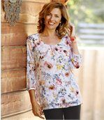 Women's Blouse with Floral Motif - Three Quarter Length Sleeves