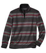 Men's Grey Striped Brushed Fleece Jumper preview2