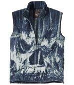 Men's Blue Wolf Print Fleece Body Warmer