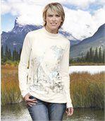 Women's Long Sleeve White Top - Floral Motif preview1
