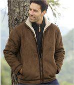 Semišová bunda sumelou kožušinou preview2