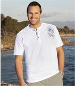 Pack of 2 Men's Button Neck T-Shirts - White Blue  preview2