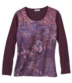 Women's Long Sleeve Plum Top - Floral Zebra Leopard Print