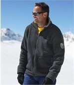 Men's Grey Winter Fleece Jacket with Sherpa Lining