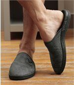 Men's Grey Faux Suede Fleece-lined Slippers