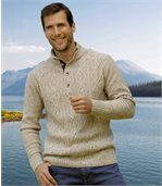 Men's Beige Knit Jumper - Button Neck preview1
