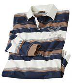Men's Long Sleeve Striped Polo Shirt - Navy Brown Ecru preview2