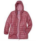 Predĺžená prešívaná bunda s kapucňou