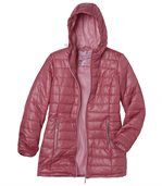 Women's Long Pink Padded Coat with Hood