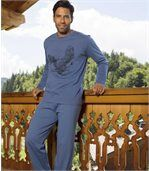Men's Navy Blue Sea Eagle Print Long Pyjama Set