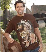 Men's Brown T-Shirt with Native American Indian Print preview1
