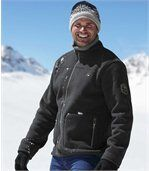 Men's Grey Winter Fleece Jacket with Sherpa Lining preview2