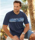 Pack of 2 Men's V-Neck Ocean Team T-Shirts - White Navy Blue preview2