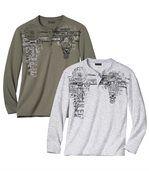 Zestaw 2 t-shirtów z dekoltem na guziki Adventure preview1