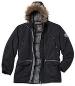 Men's Black Parka Coat with Fur Hood – Winter Chill
