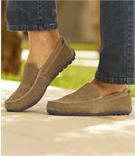 Men's Camel Suede-Look Leather Moccasins preview2