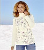 Women's Cream Roll Neck Printed Top