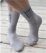 Pack of 5 Pairs of Men's Sports Socks - Grey White Black preview2