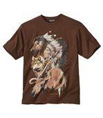 Men's Brown T-Shirt with Native American Indian Print preview2