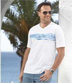 Pack of 2 Men's V-Neck Ocean Team T-Shirts - White Navy Blue preview3