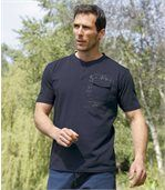 Pack of 3 Men's Button Neck T-Shirts - Khaki Navy White preview3
