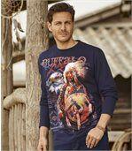 Buffalo Legend T-shirt met lange mouwen en print