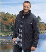 Men's Navy Blue Water-Repellent Parka Coat