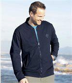 Men's Navy Blue Zip Up Jacket - Brushed Fleece