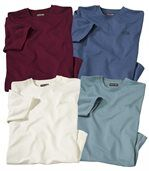 Pack of 4 Men's Plain Essential T-Shirts - Burgundy White Blue preview1