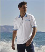 Men's Zip-Up Dual Colour Polo Shirt - White Blue preview1