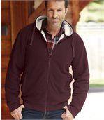 Men's Hooded Fleece Jacket with Sherpa Lining – Burgundy Beige