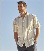 Kurzärmeliges Hemd aus Leinen und Baumwolle