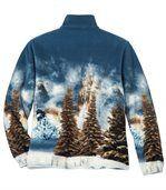 Men's Wolf Print Fleece Jacket