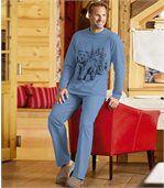 Men's Blue Bear Print Cotton Pyjamas