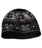 Men's Black Knitted Jacquard Hat