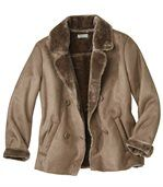 Women's Brown Faux Suede Coat with Faux Fur Trim preview1