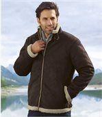 Men's Brown Faux Suede Coat - Adventurer Style preview1