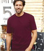 Pack of 4 Men's Plain Essential T-Shirts - Burgundy White Blue preview2