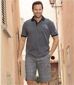Men's Casual Grey Checked Bermuda Shorts