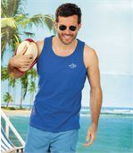 Pack of 3 Men's Pacific Beach Vest Tops - Blue Turquoise Orange