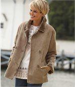Zimní sako z umělého semiše zateplené umělou kožešinou preview4