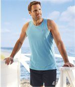 Pack of 3 Men's Sporty Beach Vests - Turquoise Grey White