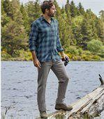 Men's Grey Regular Stretch Jeans - Semi-Elasticated Waist